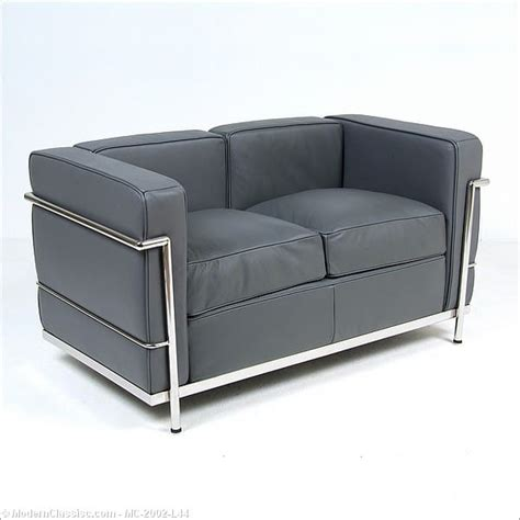 gray leather loveseat le corbusier lc2 loveseat gray leather
