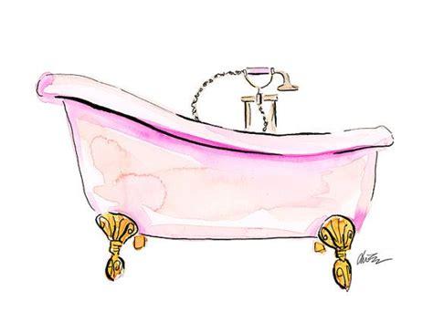 bathtub illustration pink tub watercolor beauty illustration art print