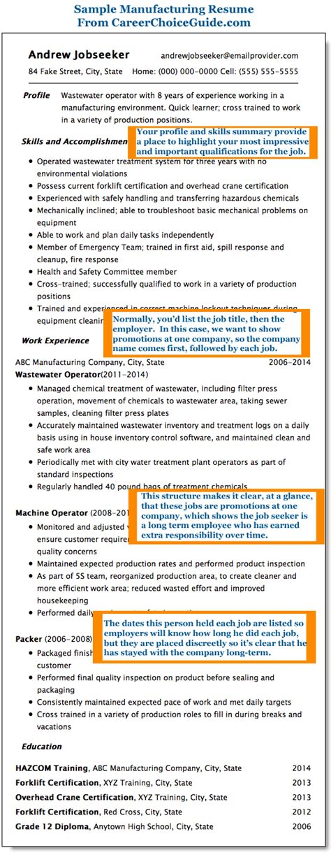 Manufacturing Job Resume sample manufacturing resume wastewater operator