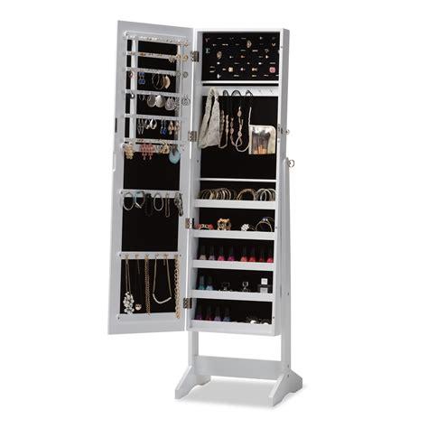 free standing mirrored jewelry armoire baxton studio alena white finishing wood free standing