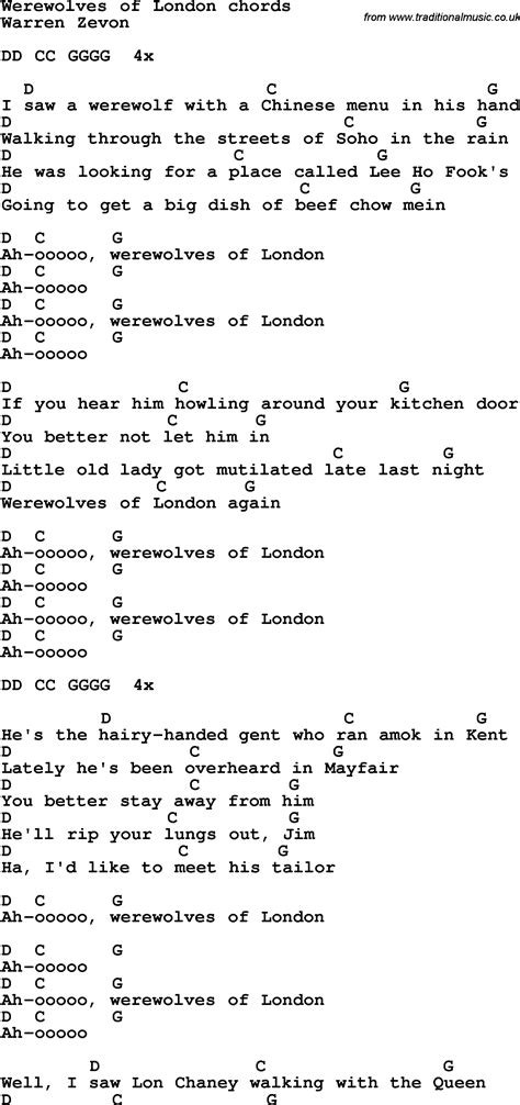 Werewolves Of London Guitar Chords