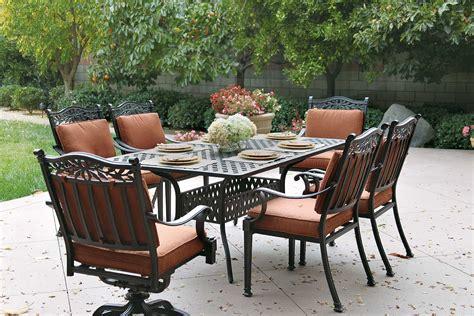 patio furniture dining set cast aluminum 72 quot table 7pc
