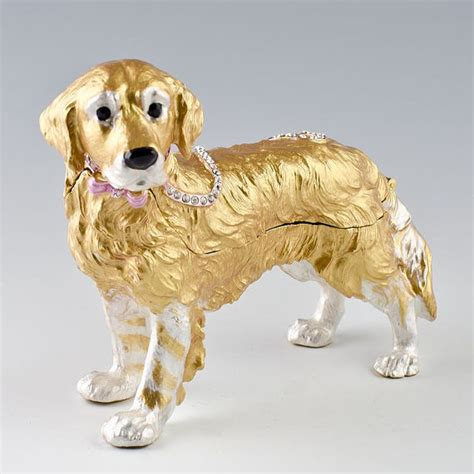golden retriever jewelry items similar to golden retriever jewelry trinket box figurine sku b07 16a on etsy