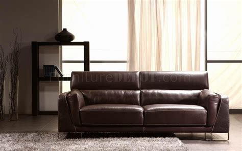 crocodile couch espresso leather modern 3pc sofa set w crocodile pattern