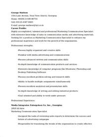 Resume Exles Communications Specialist Marketing Resume Exles 50 Free Word Pdf Documents Free Premium Templates