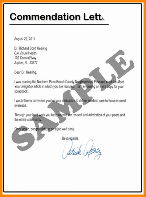 letter of commendation template 11 exle of commendation letter cover title page