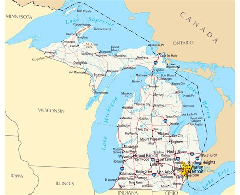 road map of michigan usa maps of michigan state collection of detailed maps of