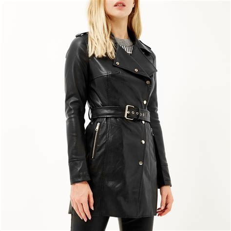 Island Trenchcoat by River Island Black Leather Look Trench Coat In Black Lyst
