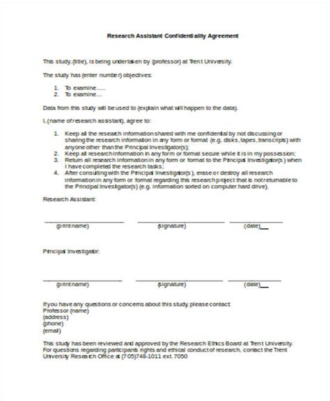 assistant agreement template 19 confidentiality agreement forms in pdf free