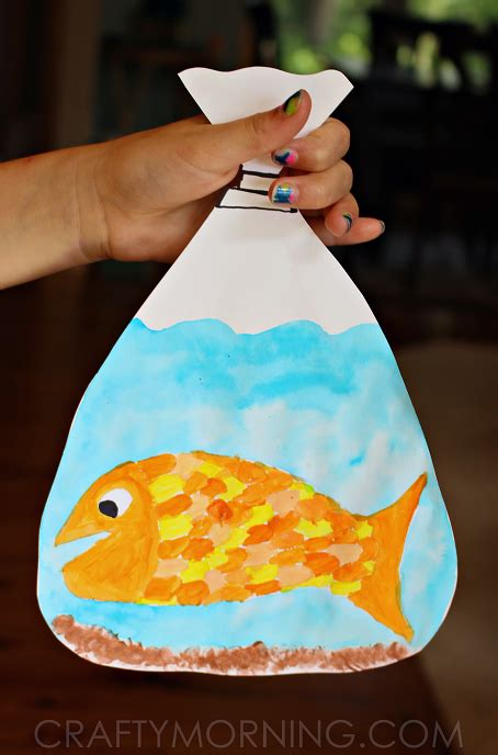 Paper Bag Fish Craft - goldfish in a bag painting family crafts