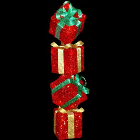 red sparkly light up gift box tower standing christmas