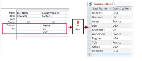 design view criteria apply criteria to a query access