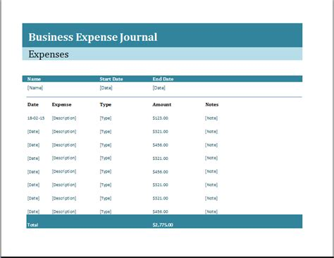business expense journal template word excel templates
