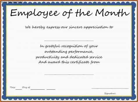 employee of the month certificate template best agenda