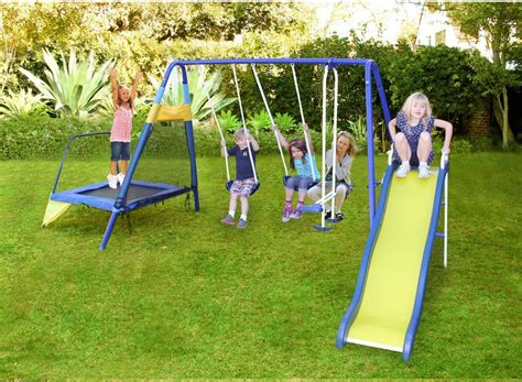 kids swing slide set metal slide and swing set with troline kids glider