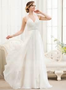 Chiffon Wedding Dress A Line Princess V Neck Sweep Train Chiffon Wedding Dress With Beading Sequins Cascading Ruffles
