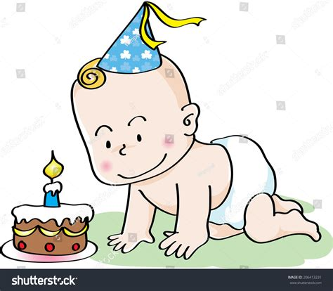 Search With Birthday Baby Boy With Birthday Cake Stock Photo 206413231