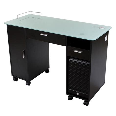 new lockable black nail salon manicure table mf 18b ebay