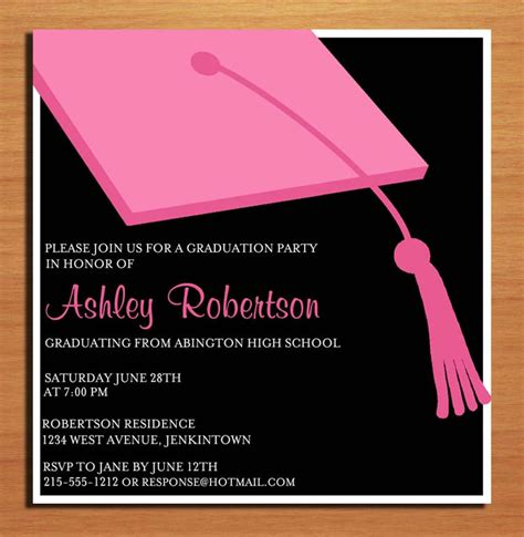 pink clapboard hat graduation party invitation cards