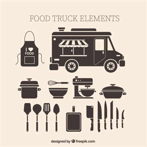 Fast Food Kitchen Design Vintage Food Truck Elements Vector Free Download
