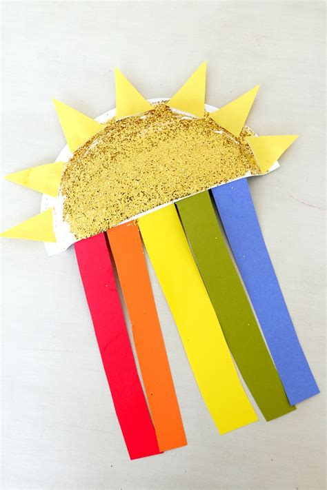 Sun Paper Plate Craft - sun and rainbow paper plate craft rainbows