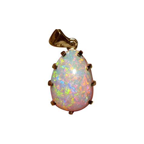large opal pendant 14k gold flashopal
