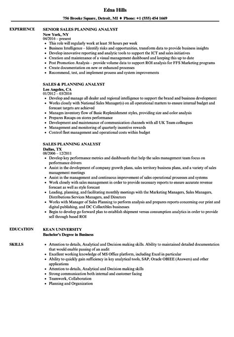 sales planning analyst resume sles velvet