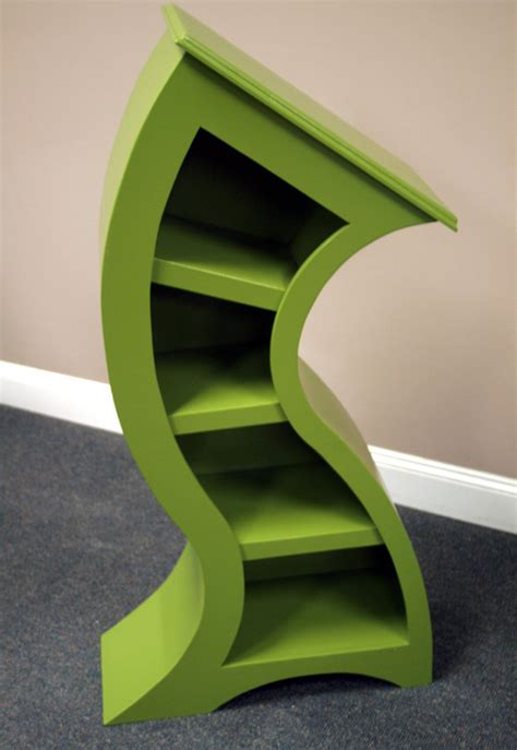 handmade curved wooden bookshelves the green