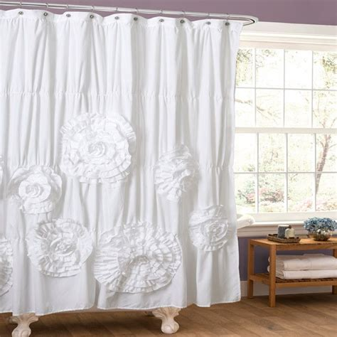 frilly shower curtain ruffled white shower curtain bathroom ideas pinterest
