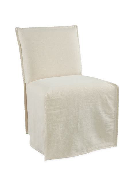 Slipcovered Dining Chair by White Linen Slipcovered Dining Chair On Wheels Interior