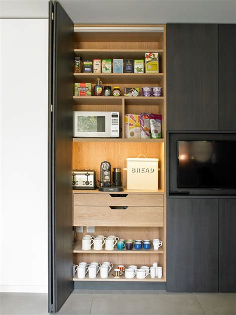 Bi Fold Cabinet Doors Breakfast Cabinet With Bi Fold Doors Contemporary Kitchen By Brayer Design