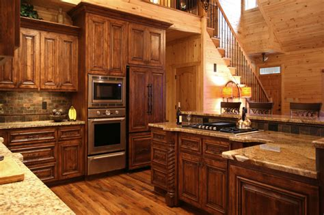 cabin kitchen cabinets rustic cabin style traditional kitchen charlotte