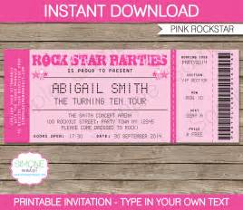rockstar birthday ticket invitations template pink