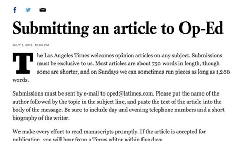 Op Ed Essay Sle how to submit an op ed article to a major website