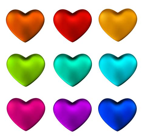 colored hearts shiny colored vector set free