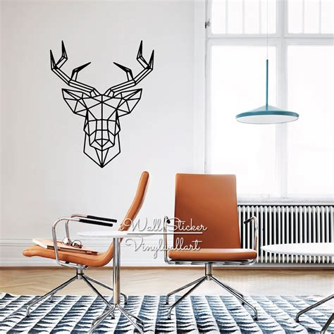 wall stickers decor modern aliexpress buy geometric deer wall sticker modern