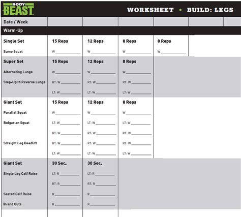 beast workout sheet beast bulk legs workout sheet workout