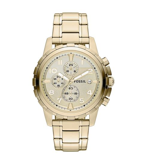 fossil dean goldtone stainless steel chronograph