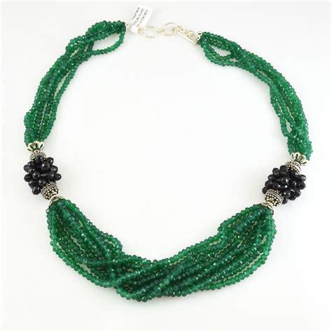 jewelry semi precious stones green onyx sterling silver necklace 925 semi precious
