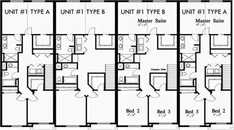4 plex townhouse floor plans 4 plex apartment floor plans fourplex plans 4 plex plans townhouse f 550 triplex