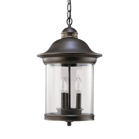 Lowes Pendant Light Shop Sea Gull Lighting Hermitage 19 In Antique Bronze Outdoor Pendant Light At Lowes