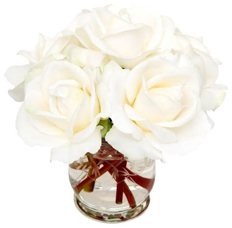 Gold Bathrooms by White Roses Traditional Artificial Flowers Plants And