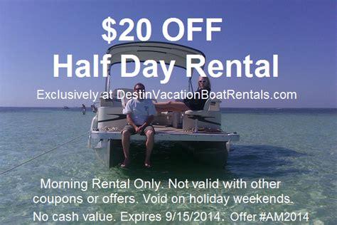 destin boat rentals coupons coupons destin vacation boat rentals