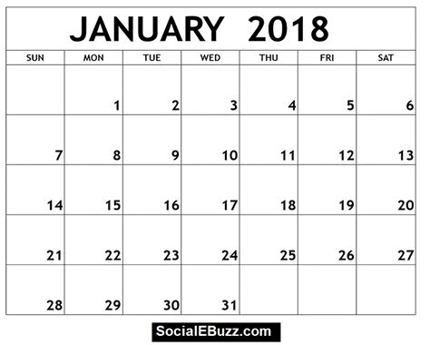 january calendar template january 2018 calendar printable template with holidays pdf
