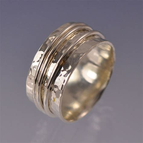 unique silver and gold wide wedding bands for him and