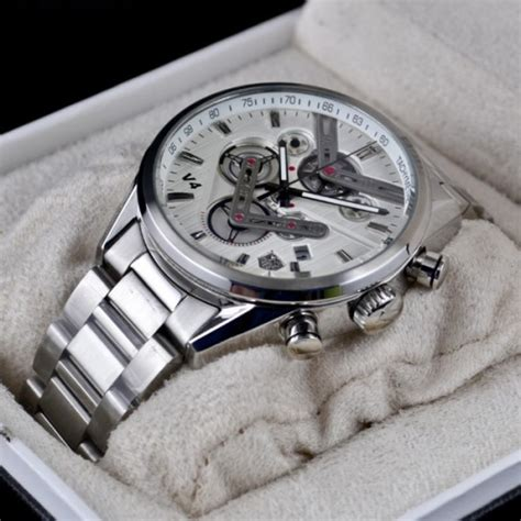 tagheuer v4 chronograph silver white in