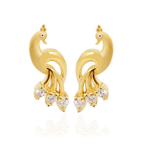 earrings peacock gold stud grt jewellers