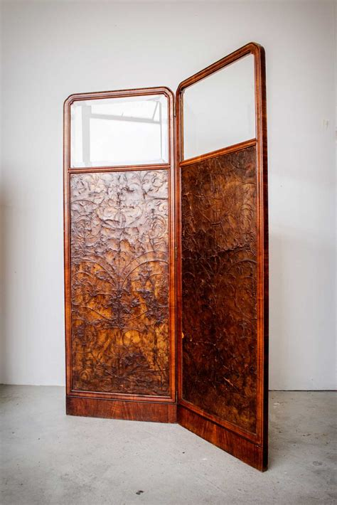 Vintage Room Divider Antique Leather Screen Two Fold Room Screen Antique Screen For Bedroom Antique Room Divider