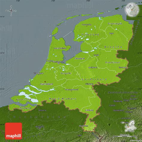physical map of netherlands physical map of netherlands darken
