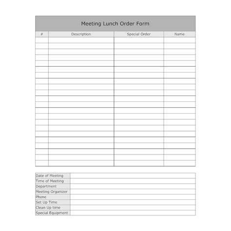 office lunch order form template lunch meeting order form